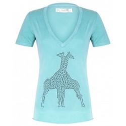 Clothing Women short-sleeved t-shirts So Charlotte V neck short sleeves Giraffe T00-91-80 Vert Green