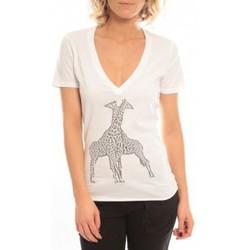 Clothing Women short-sleeved t-shirts So Charlotte V neck short sleeves Giraffe T00-91-80 Blanc White