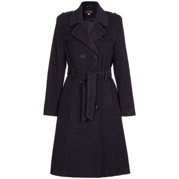 Clothing Women Trench coats De La Creme Winter Wool Belted Long Military Trench Coat Black