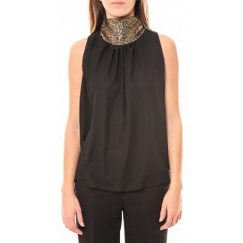 Clothing Women Tops / Sleeveless T-shirts Tcqb Top Paillettes Dorées 114-70 Noir Black