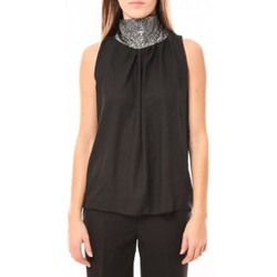 Clothing Women Tops / Sleeveless T-shirts Tcqb Top Paillettes Argentées 114-70 Noir Black