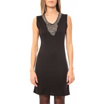 Clothing Women Short Dresses Tcqb Robe Perlée 2771 Black