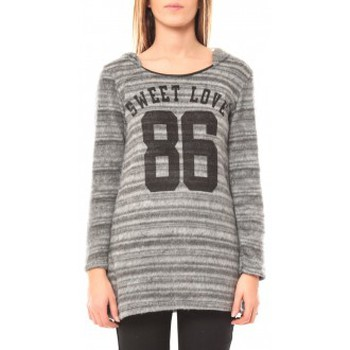 Clothing Women Jumpers De Fil En Aiguille Pull Sweet Love 86 Grey
