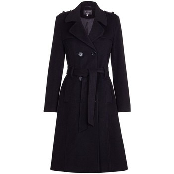 Clothing Women Trench coats De La Creme Wool & Cashmere Belted Long Military Trench Coat Black