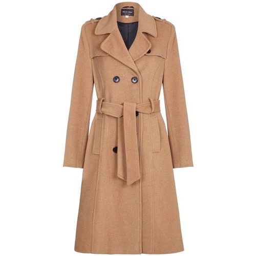 Clothing Women Coats De La Creme Winter Wool & Cashmere Belted Long Military Trench Coat Beige