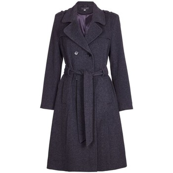 Clothing Women Trench coats De La Creme Winter Wool & Cashmere Belted Long Military Trench Coat Grey
