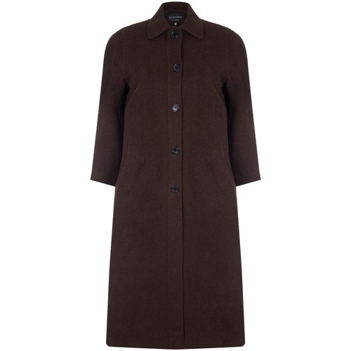 Clothing Women Coats David Barry Single Breasted Wool and Cashmere Blend Long Winter Coat Brown