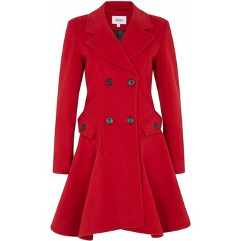 Clothing Women coats De La Creme Wool Winter Double Breasted Fit and Flare Winter Coat Red