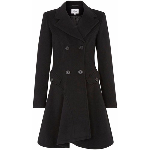 Clothing Women coats De La Creme Wool Winter Double Breasted Fit and Flare Winter Coat Black