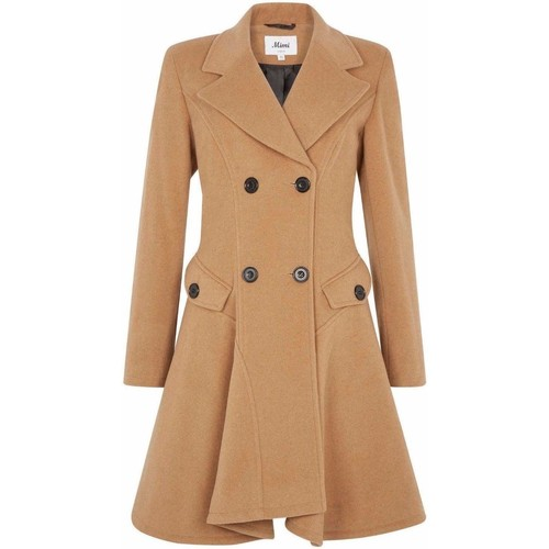 Clothing Women coats De La Creme Wool Winter Double Breasted Fit and Flare Winter Coat Beige