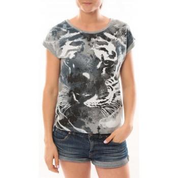 Clothing Women short-sleeved t-shirts L'atelier Du Marais T-Shirt Tiger Gris Grey