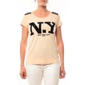 Clothing Women short-sleeved t-shirts Dress Code T-Shirt Love Look NY 1660 Beige Beige
