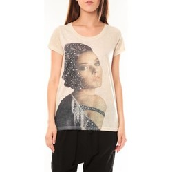 Clothing Women short-sleeved t-shirts Tcqb Tee shirt Y-0008 Beige Beige