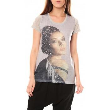 Clothing Women short-sleeved t-shirts Tcqb Tee shirt Y-0008 Gris Grey