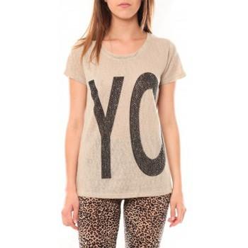 Clothing Women short-sleeved t-shirts Tcqb Tee shirt SL1511 Beige Beige