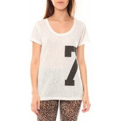 Clothing Women short-sleeved t-shirts Tcqb Tee shirt SL1601 Blanc White