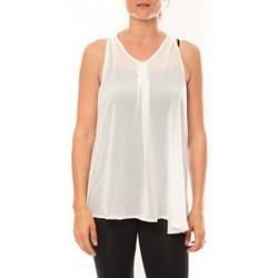Clothing Women Tops / Sleeveless T-shirts De Fil En Aiguille Débardeur may&co 882 Blanc White