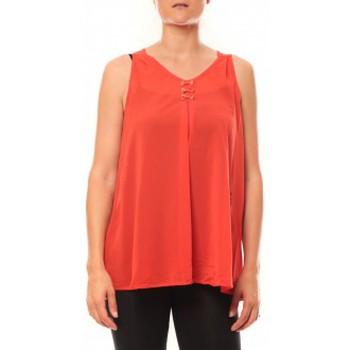 Clothing Women Tops / Sleeveless T-shirts De Fil En Aiguille Débardeur may&co 882 Rouge Red