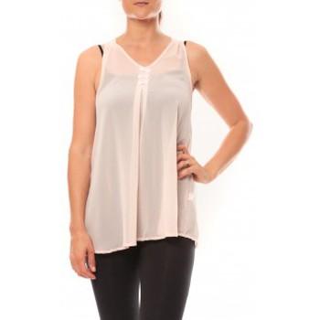 Clothing Women Tops / Sleeveless T-shirts De Fil En Aiguille Débardeur may&co 882 Beige Beige
