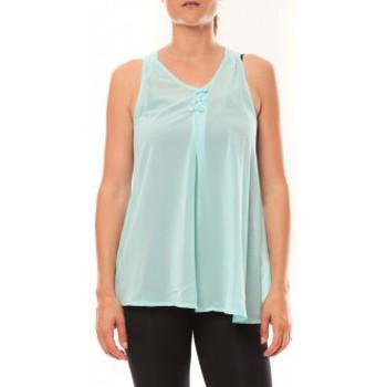 Clothing Women Tops / Sleeveless T-shirts De Fil En Aiguille Débardeur may&co 882 Turquoise Blue