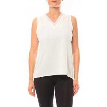 Clothing Women Tops / Sleeveless T-shirts De Fil En Aiguille Débardeur Voyelle L147 Blanc White