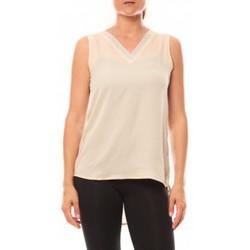 Clothing Women Tops / Sleeveless T-shirts De Fil En Aiguille Débardeur Voyelle L147 Beige Beige
