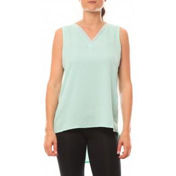 Clothing Women Tops / Sleeveless T-shirts De Fil En Aiguille Débardeur Voyelle L147 Turquoise Blue