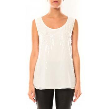 Clothing Women Tops / Sleeveless T-shirts De Fil En Aiguille Débardeur Victoria & Karl MX0660 Blanc White