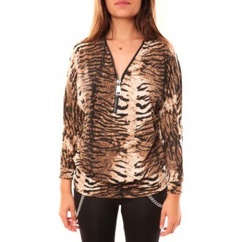 Clothing Women Long sleeved tee-shirts Dress Code T-shirt May&CO 2529 Beige Beige