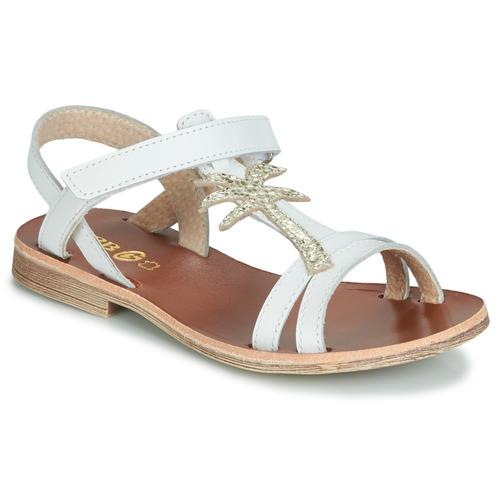 Shoes Girl Sandals GBB SAPELA White / Gold