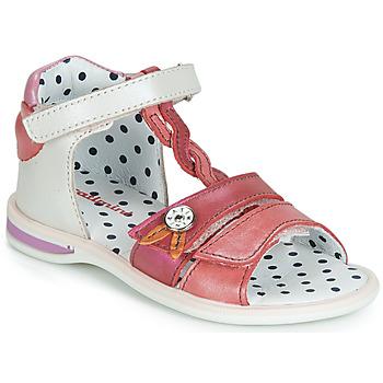 Shoes Girl Sandals Catimini GOROKA White / Red