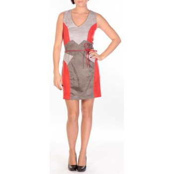 Clothing Women Short Dresses Dress Code Robe Fraise rouge/gris/anthracite Red