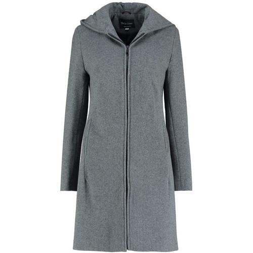 Clothing Women Coats De La Creme Cashmere Wool Hooded Winter Coat Grey