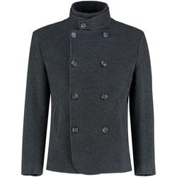 Clothing Men coats De La Creme - Mens Black Short Winter Wool Cashmere Jacket Black