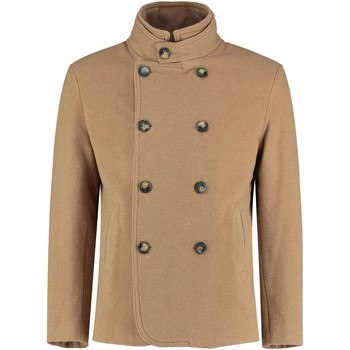 Clothing Men coats De La Creme - Mens Camel Short Winter Wool Cashmere Jacket BEIGE