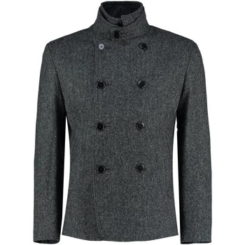 Clothing Men coats De La Creme - Mens Black Tweed Short Winter Wool Jacket Black
