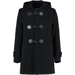 Clothing Men coats De La Creme - Mens Black Winter Hooded Duffle Wool Cashere Coat Black