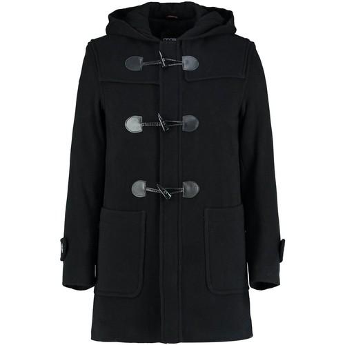 Clothing Men Coats De La Creme Winter Hooded Duffle Wool Cashere Coat Black
