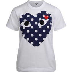 Clothing Women short-sleeved t-shirts Comme Des Garcons white t-shirt with blue polka dot heart White