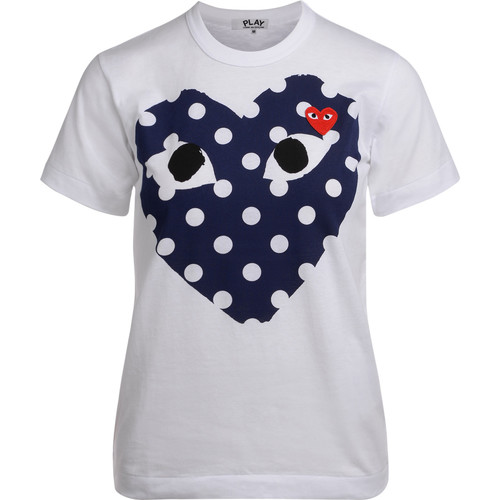 Clothing Women short-sleeved t-shirts Comme Des Garcons white t-shirt with blue polka dot White