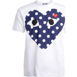 Clothing Men short-sleeved t-shirts Comme Des Garcons white t-shirt with blue polka dot heart White