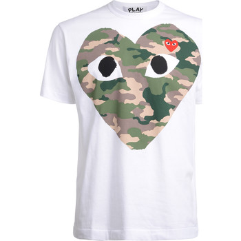 Clothing Men short-sleeved t-shirts Comme Des Garcons Comme Des Garçons PLAYwhite t-shirt with camouflage heart White