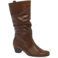 Shoes Women High boots Gabor Rachel Leather Wide Fitting Boots brown