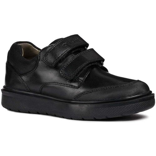 Shoes Boy Low top trainers Geox Riddock Double Rip Tape Boys Junior School Shoes black