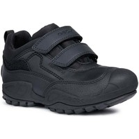 Shoes Boy Low top trainers Geox New Savage Boys Junior Waterproof Rip Tape School Shoes black