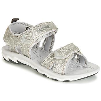 Shoes Children Outdoor sandals Hummel SANDAL GLITTER JR Silver