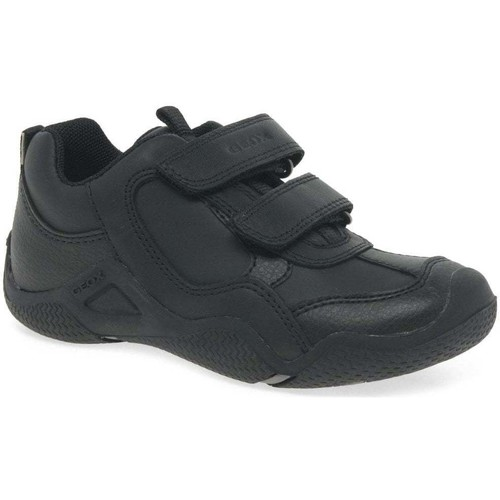 Shoes Boy Low top trainers Geox Junior Wader A Boys Rip Tape Breathable School Shoes black