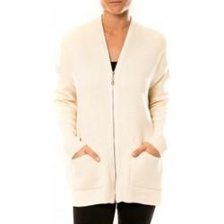 Clothing Women Jackets / Cardigans Tcqb Gilet Lely Wood L586 Blanc White