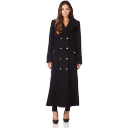 Clothing Women coats De La Creme Long Military Wool Cashmere Winter Coat Black