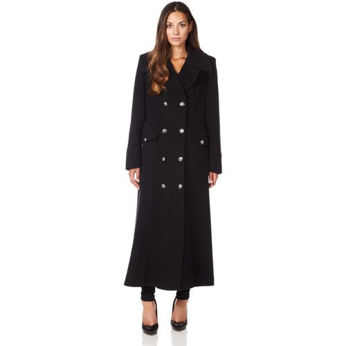 Clothing Women Coats De La Creme Long Military Wool Cashmere Winter Coat Black
